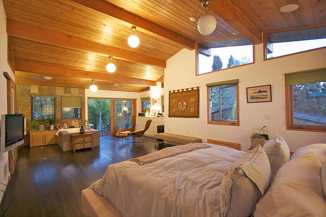 complete bedroom addition with wood ceilings